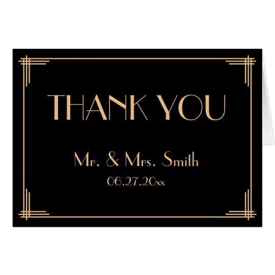 Black Great Gatsby Art Deco Wedding Thank You Card