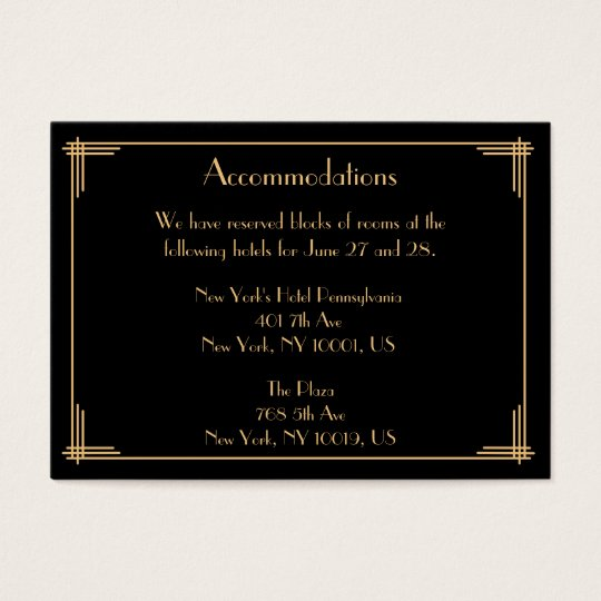 Black Great Gatsby Wedding Accommodation Cards