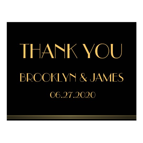 Black Great Gatsby Wedding Thank You Postcards