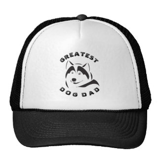 Black Greatest Dog Dad Text & Dog Illustration Cap
