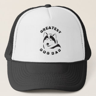 Black Greatest Dog Dad Text & Dog Illustration Trucker Hat
