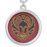 Black Greek Spartan Warrior Silver Chain Necklace