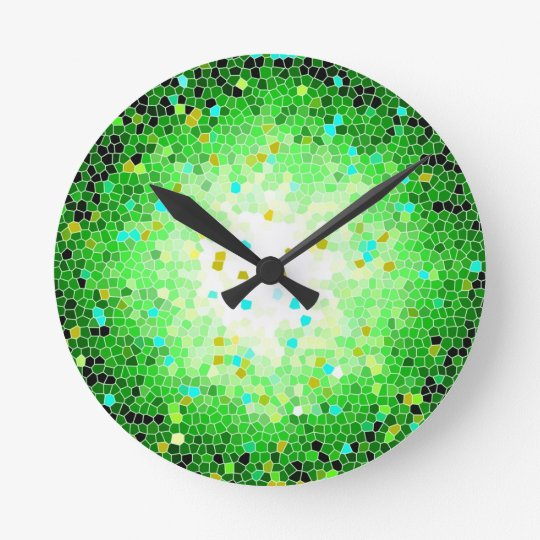 Black Green and Gold Crystal Mosaic Wall Clock