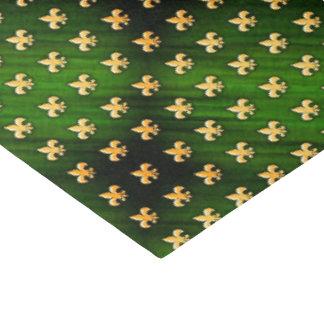 Black & Green Background with Gold Fleur de Lis Tissue Paper