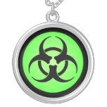 Black & Green Biohazard Symbol Necklace