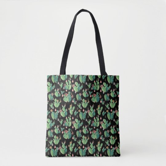 Black & Green Cactus Blooms Tote Bag