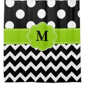 Black Green Chevron Monogram Shower Curtain