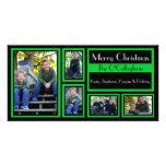 Black & Green Christmas Card - 5 Photos Photo Greeting Card