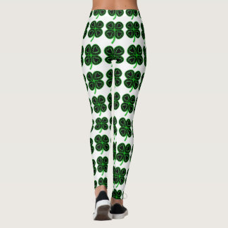 Black Green Clover Heart St Patrick's Day Leggings