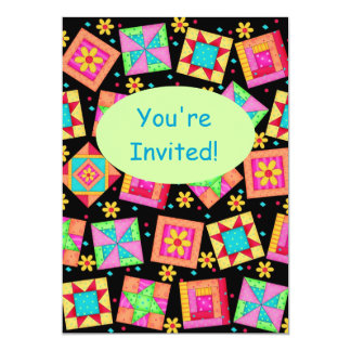 Black Green Colorful Patchwork Quilt Block Art Card