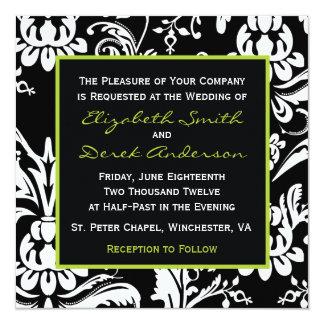 Black & Green Contemporary Damask Invitation