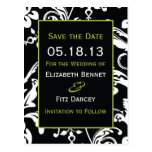Black & Green Contemporary Damask Save the Date