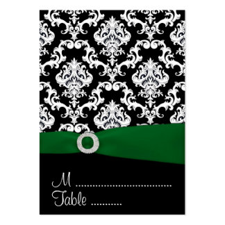 Black & Green Damask Wedding Reception Place Cards Business Cards