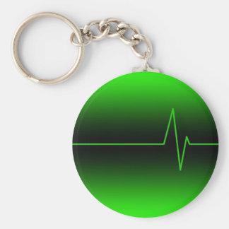 Black Green EKG Basic Round Button Key Ring