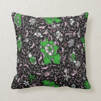 Black Green Floral Abstract Throw Cushions