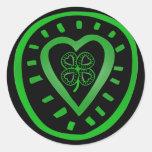 Black Green Heart Clover - St Patrick's Day - Round Sticker