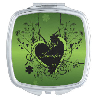 Black Green heart Mirrors For Makeup