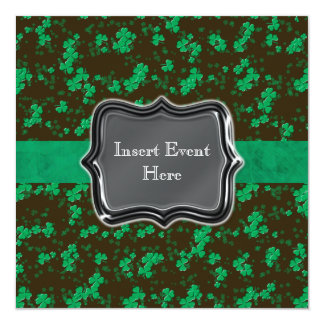 Black green Irish wedding engagement Card