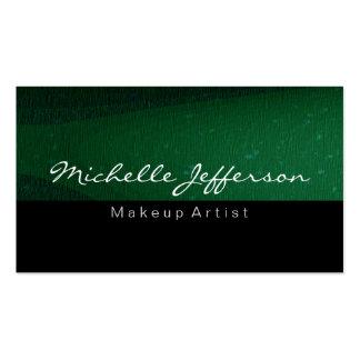 Black Green Makeup Artist Unique Business Card