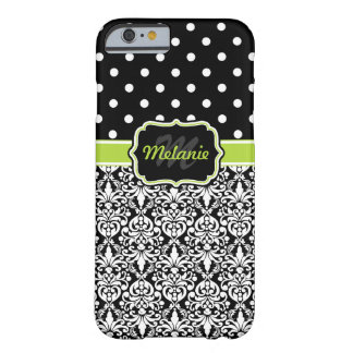 Black Green Monogrammed Damask Polka Dots Pattern Barely There iPhone 6 Case