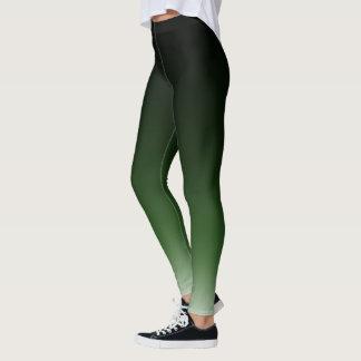Black Green Ombre Gradient Fade Leggings