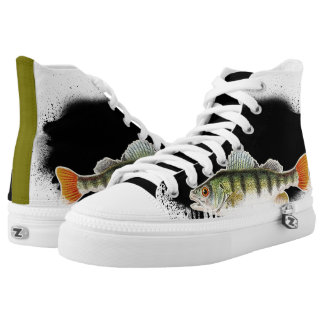 Black, Green & Orange Bold Fish High Top Printed Shoes