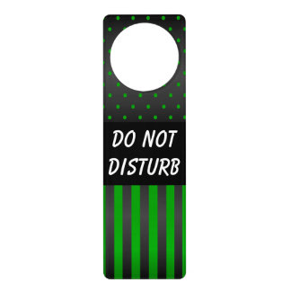 Black & Green Polka Dots | Do Not Disturb Sign