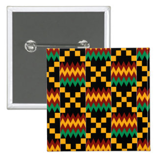 Black, Green, Red, and Yellow Kente Cloth 15 Cm Square Badge