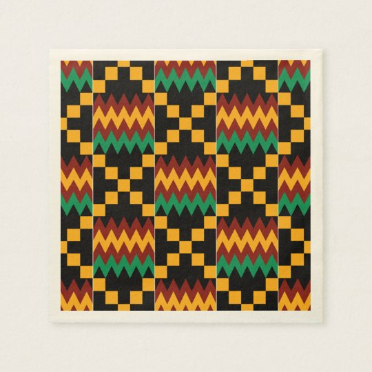 Black, Green, Red, and Yellow Kente Cloth Disposable