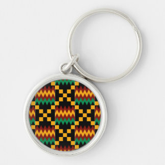Black, Green, Red, and Yellow Kente Cloth Keychain