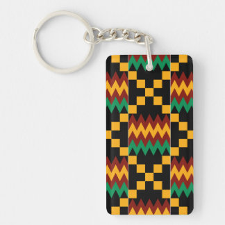 Black, Green, Red, and Yellow Kente Cloth Double-Sided Rectangular Acrylic Key Ring