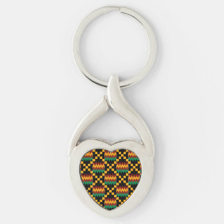 Black, Green, Red, and Yellow Kente Cloth Silver-Colored Heart-Shaped Metal Keychain