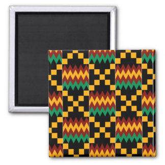 Black, Green, Red, and Yellow Kente Cloth Square Magnet
