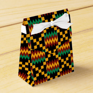 Black, Green, Red, and Yellow Kente Cloth Wedding Favour Box