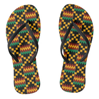 Black, Green, Red, Yellow Kente Cloth Flip Flops