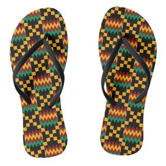 Black, Green, Red, Yellow Kente Cloth Flip Flops