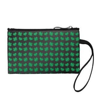 Black green shamrocks and hearts coin purse