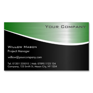 Black Green Stainless Steel Magnetic Business Card