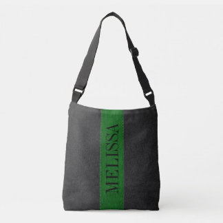Black & Green Stitched Leather Texture Crossbody Bag