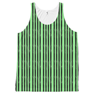 Black Green Stripes All-Over Print Tank Top