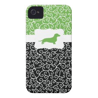 Black&Green Swirls w/Dachshund iPhone 4 Case