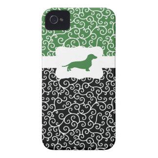 Black&Green Swirls w/Dachshund iPhone 4 Case-Mate Cases