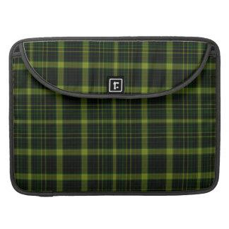 Black Green Tartan Plaid Large Pattern MacBook Pro Sleeves