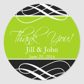 Black Green Thank You Wedding Favour Label Sticker