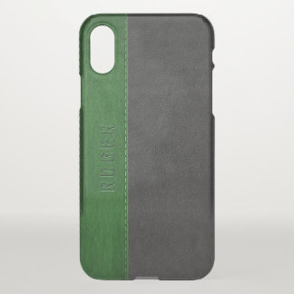 Black & Green Vintage Leather iPhone X Case