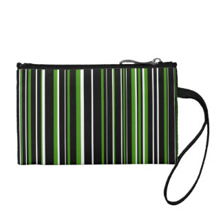 Black, Green, White Barcode Stripe Change Purse