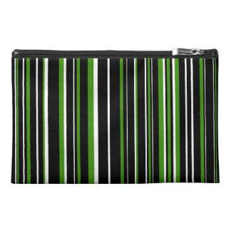 Black, Green, White Barcode Stripe Travel Accessory Bags