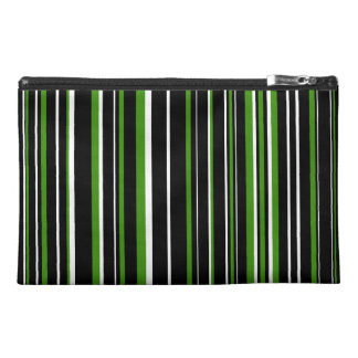 Black, Green, White Barcode Stripe Travel Accessory Bags