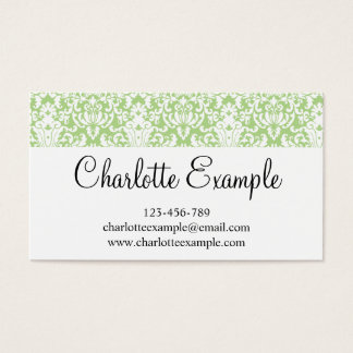 Black Green White Floral Damask Classic Business Card