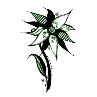 Black Green & White Swirly Flower by Naomi Photo Sculpture Decoration